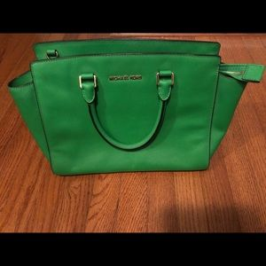 Michael Michael Kors Green Saffiano Leather Bag